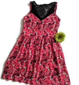 Pink, Black & Cream Floral Print Dress sz.8/9 #480
